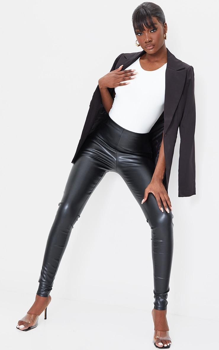 Tall Black Basic Faux Leather High Waist Leggings 1