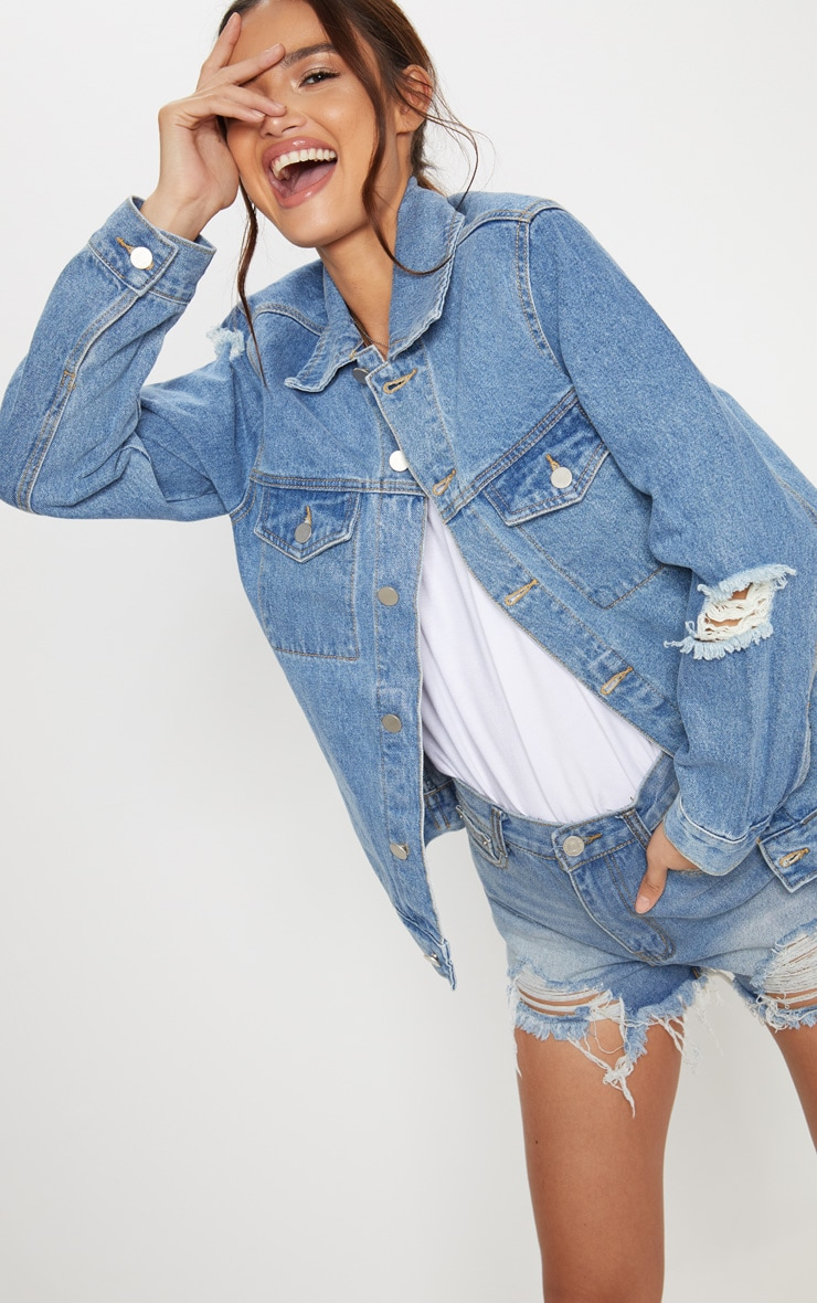 Light Wash Distressed Denim Jacket  2