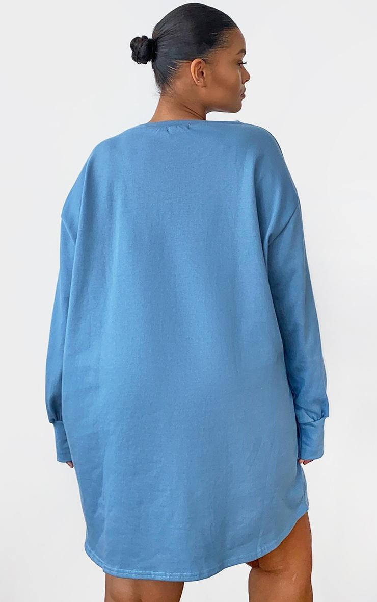 Plus Dusty Blue Oversized Sweatshirt Dress 2