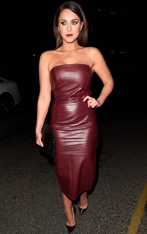 Adaline Burgundy Faux Leather Midi Dress 2