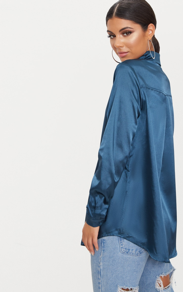 Teal Satin Button Front Shirt  2
