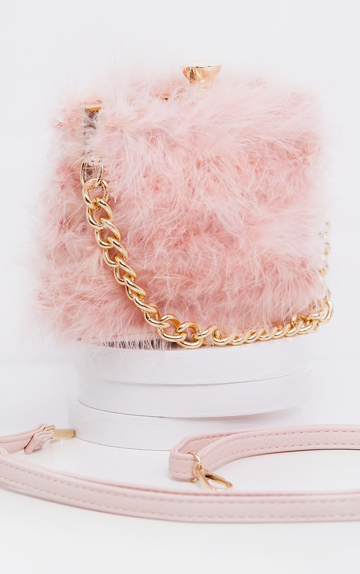 Pink Marabou Large Clutch Bag 2