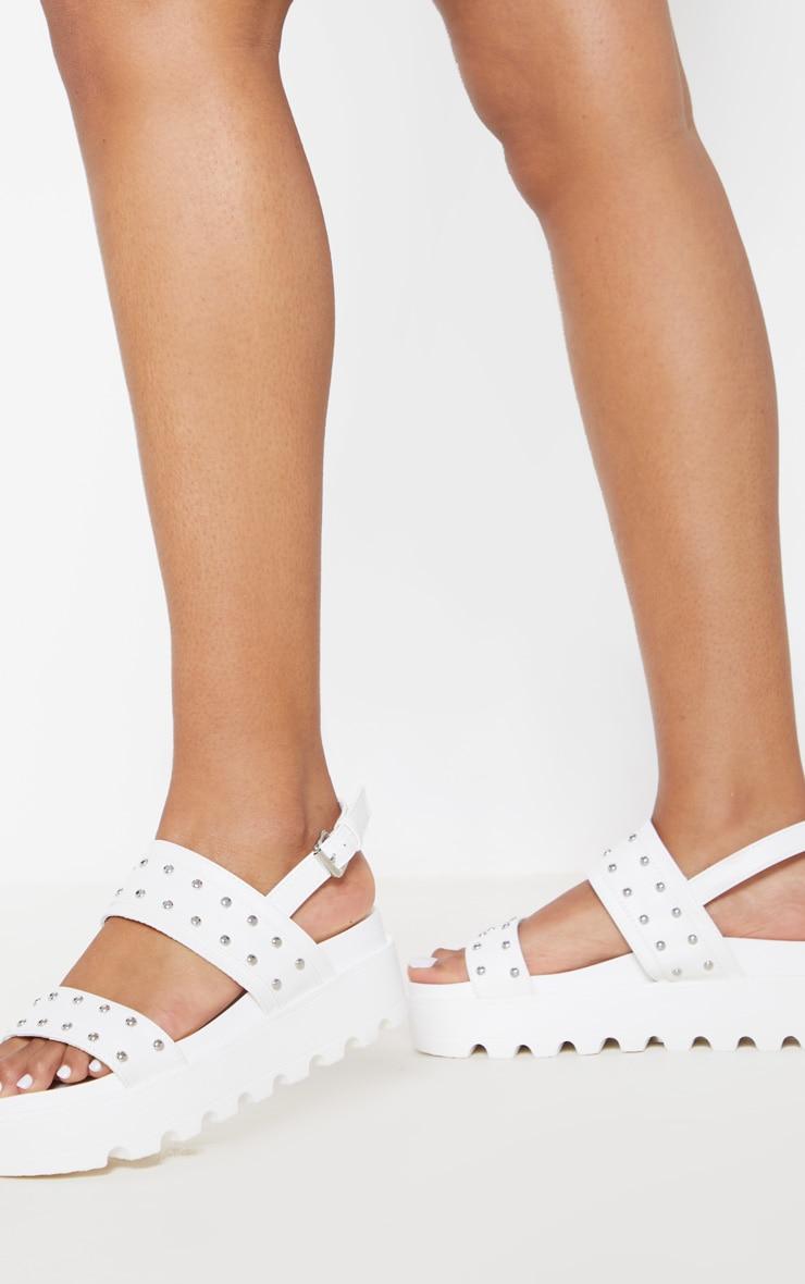 White Studded Twin Strap Chunky Flatform Sandal 2