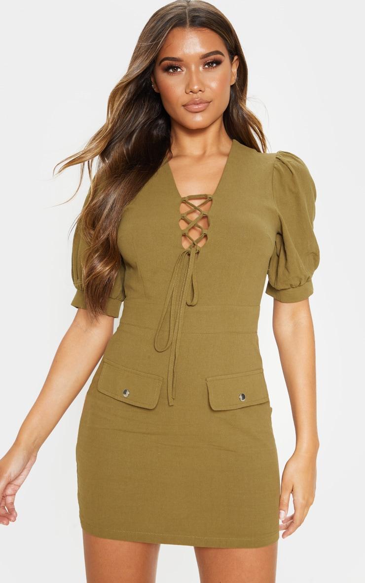 Khaki Lace Up Pocket Front Utility Dress 1