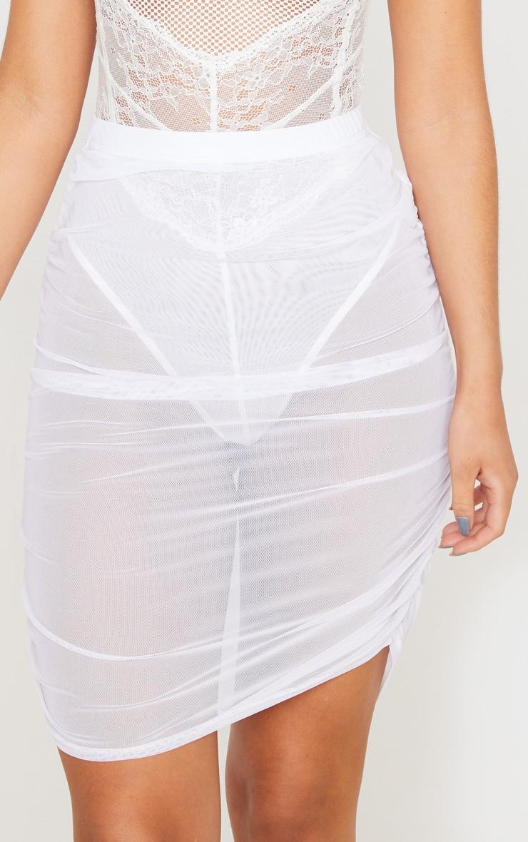 White Mesh Ruched Mini Skirt 6