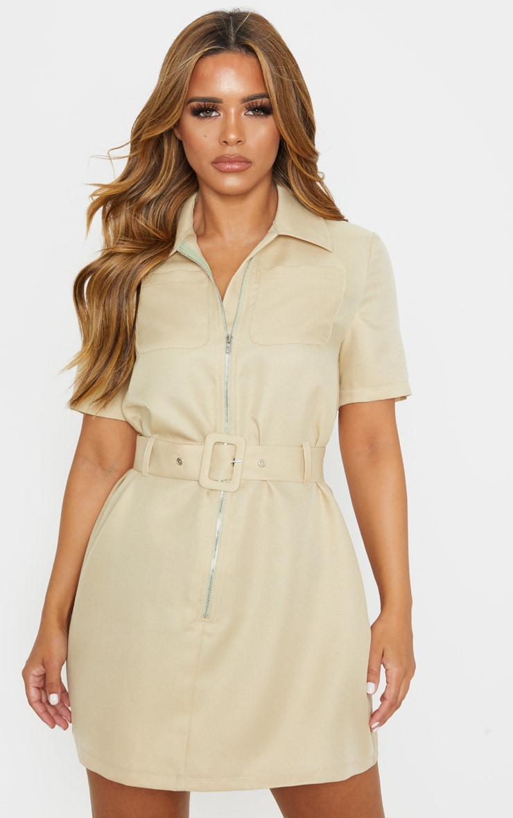 Petite Stone Zip Detail Belted Utility Dress 1
