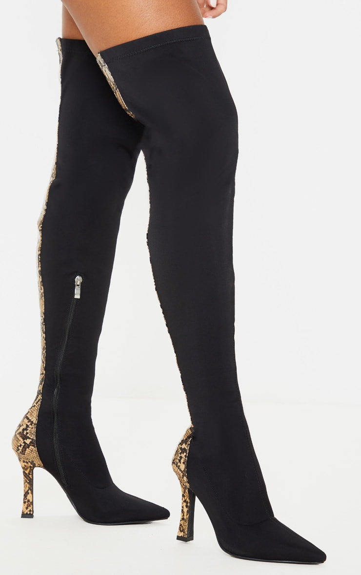 Black Flare Heel Zip Back Thigh High Boot 2