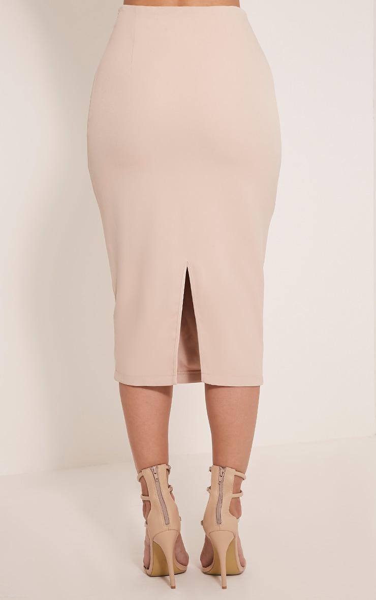 Haley Nude Lace Up Midi Skirt 5