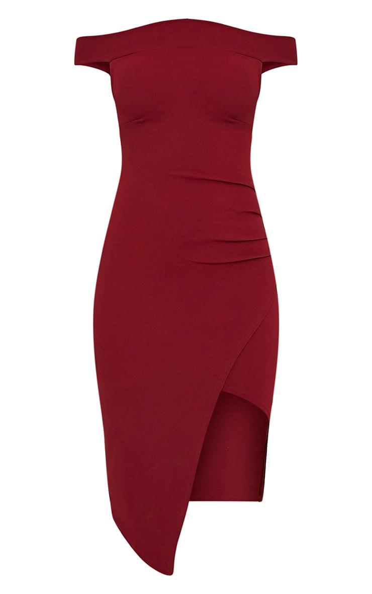 Abbey Burgundy Bardot Wrap Front Crepe Midi Dress 3