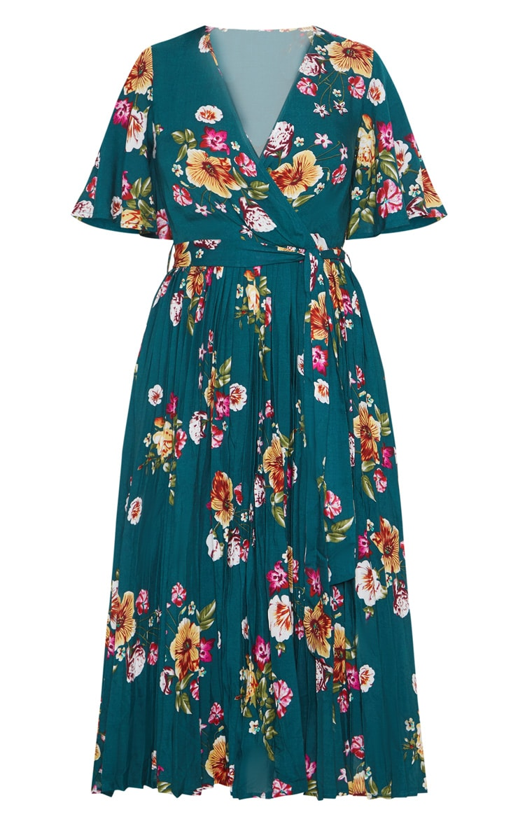 Emerald Green Floral Pleated Midi Dress 3