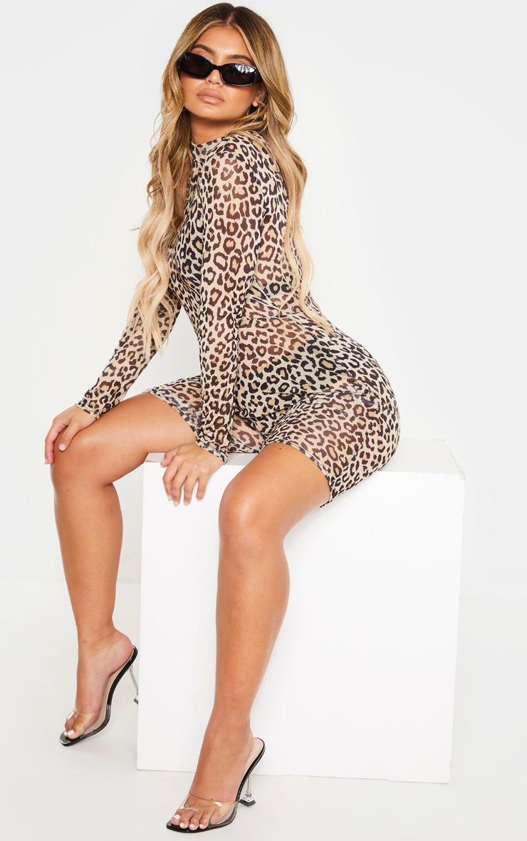 Combi moulante imprimé léopard bronze en mesh à manches longues 1