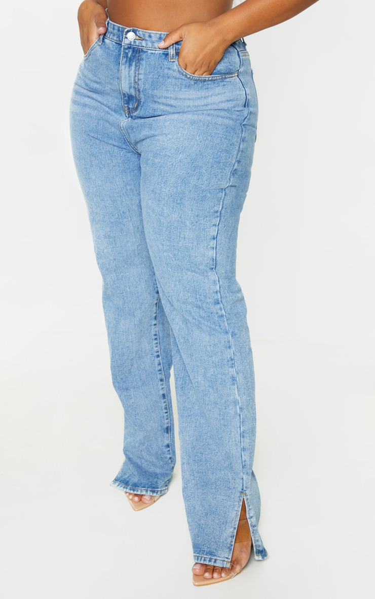 Plus Light Wash Split Hem Jeans 2