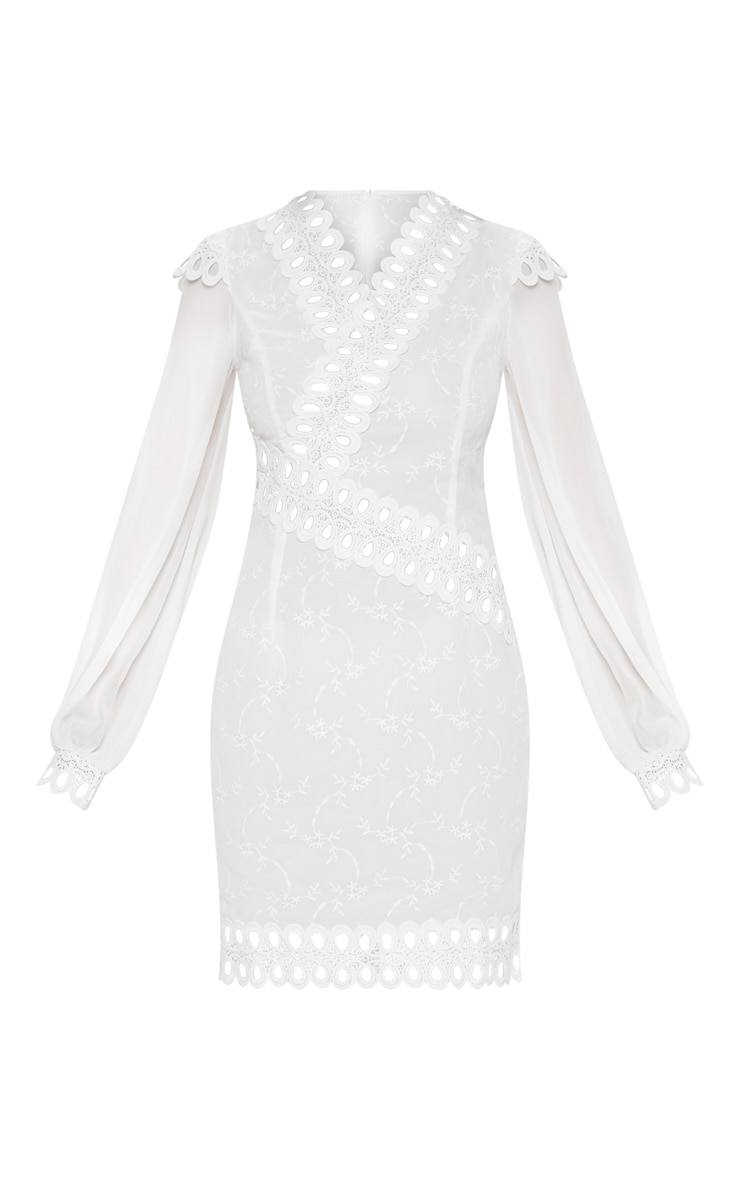 White Broderie Anglaise Long Sleeve Lace Trim Shift Dress 3