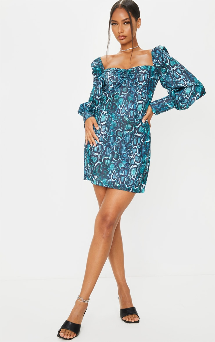 Teal Snake Print Ruched Bust Long Sleeve Bodycon Dress 1