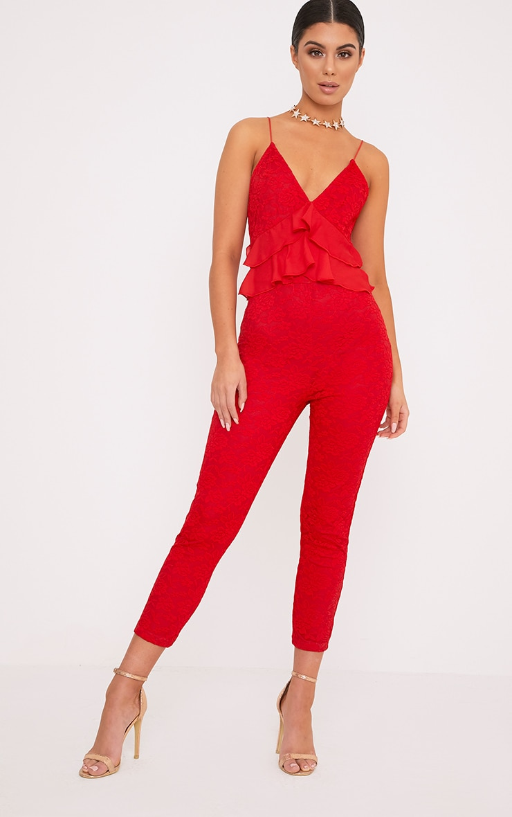 Kaidy Red Lace Frill Jumpsuit 1
