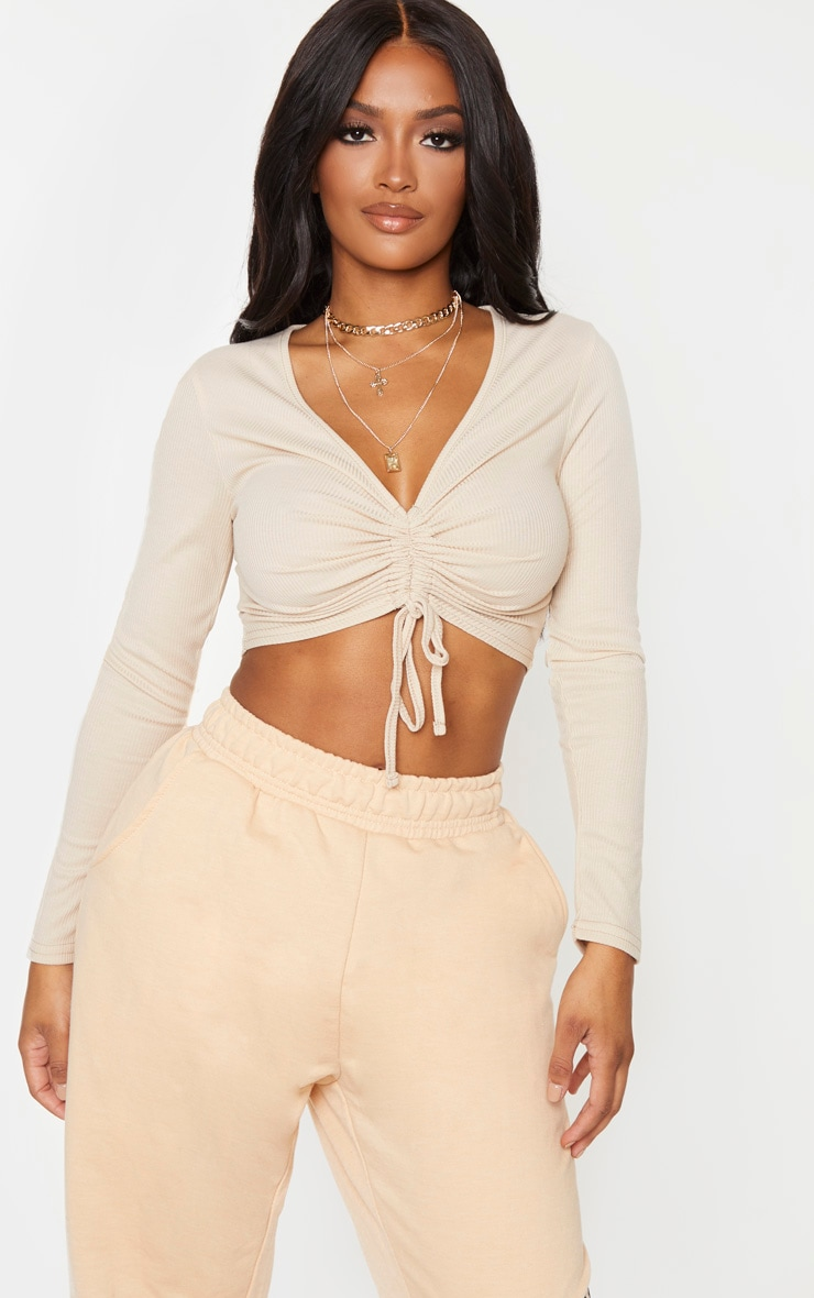 Shape Sand Ribbed Long Sleeve Ruched Front Crop Top 1
