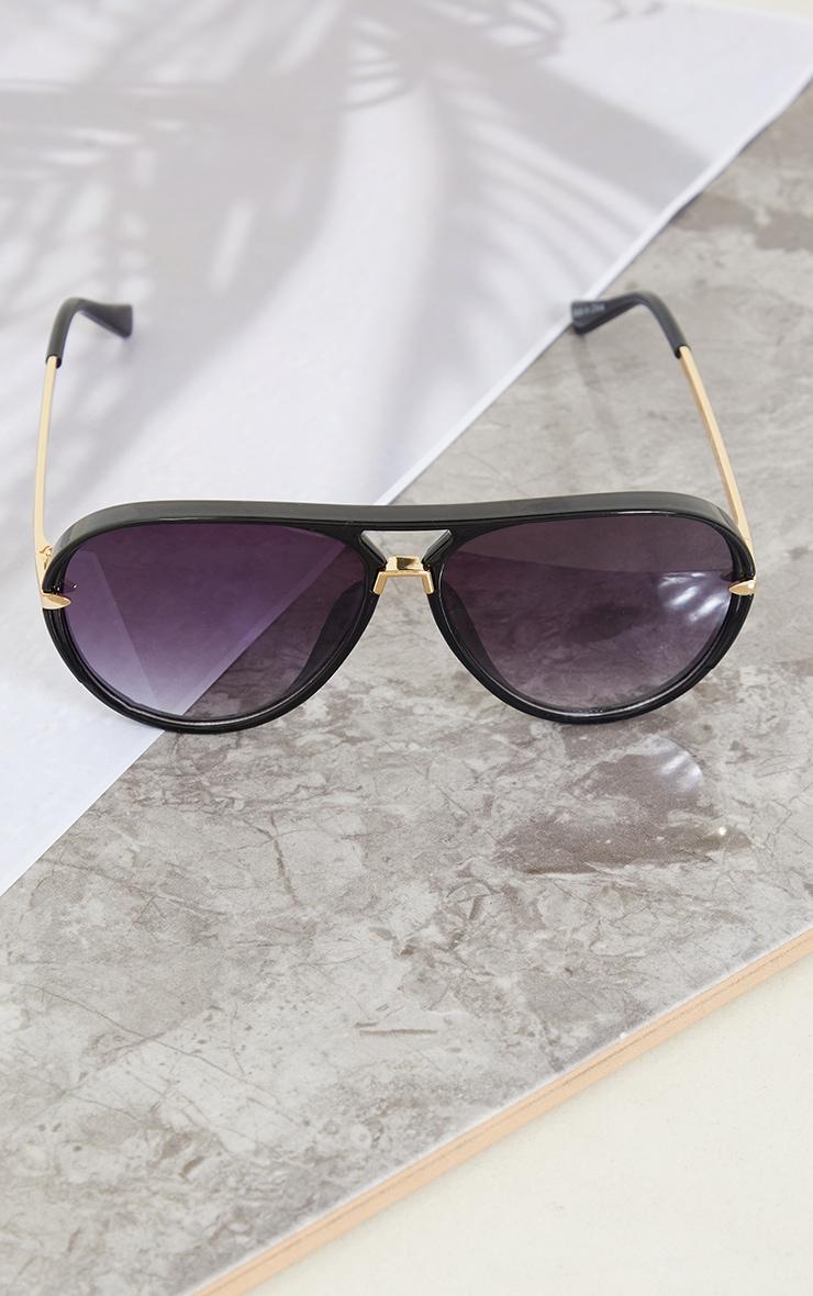 Black Frame With Black Lens Aviator Sunglasses 3