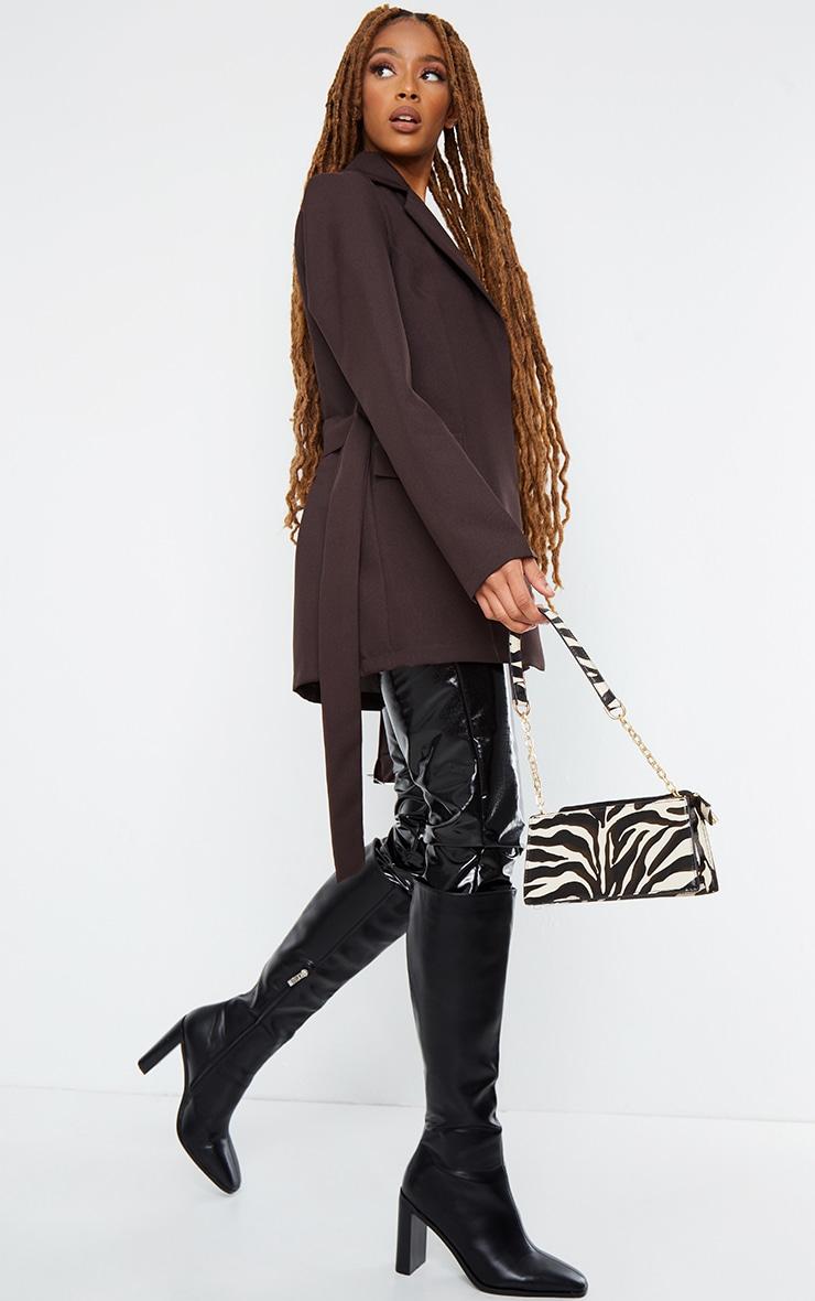 Chocolate Longline Buckle Belted Blazer 3