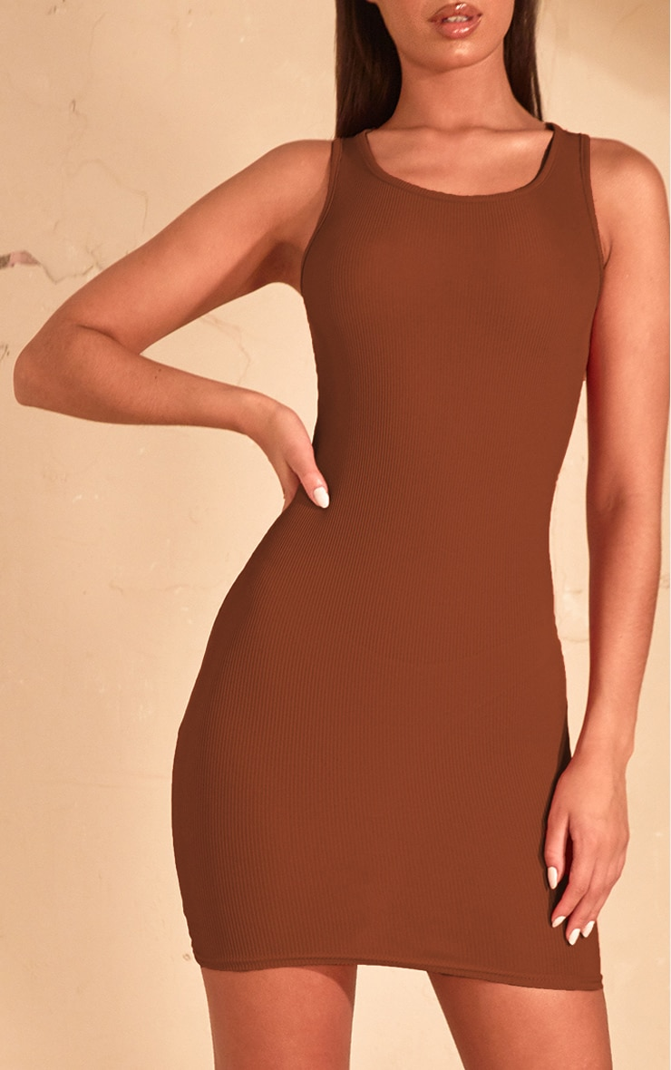 Chocolate Brown Rib Scoop Neck Bodycon Dress  5