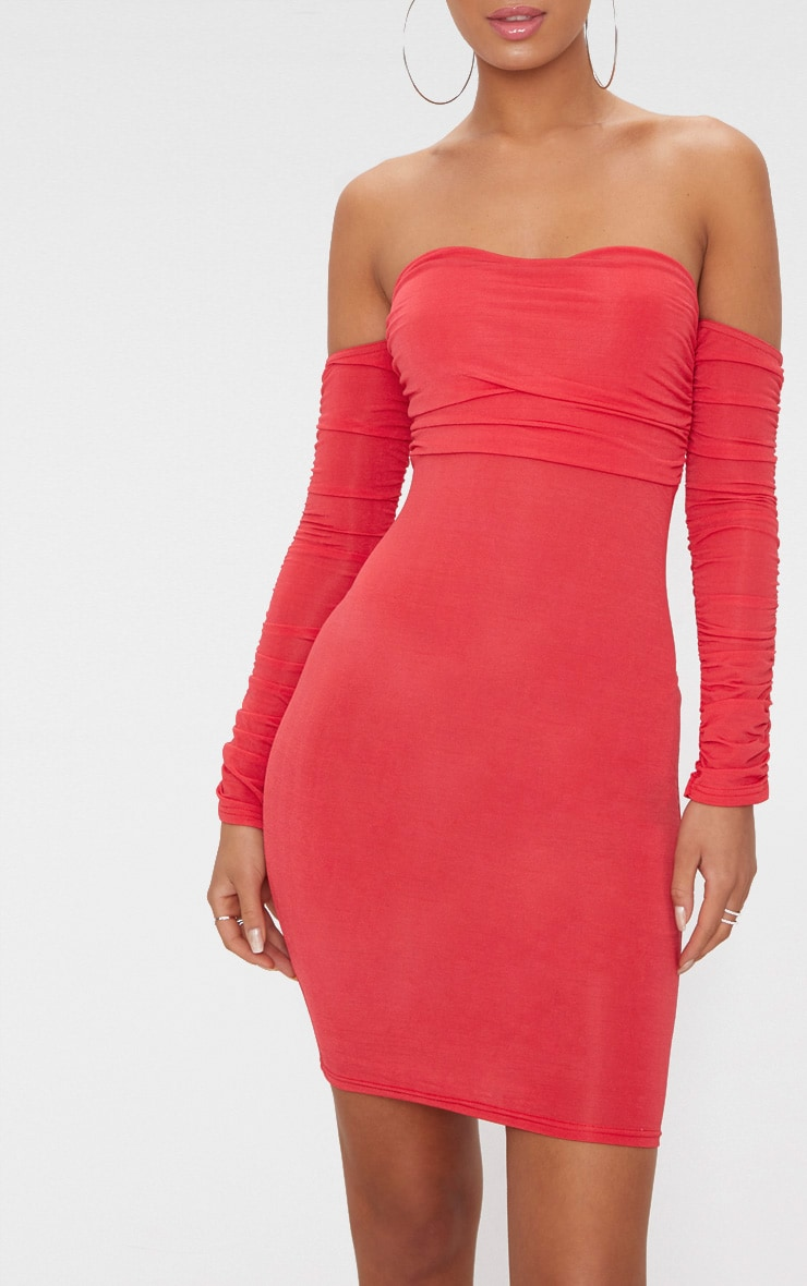 Red Ruched Front Ruched Arm Bardot Bodycon Dress 5