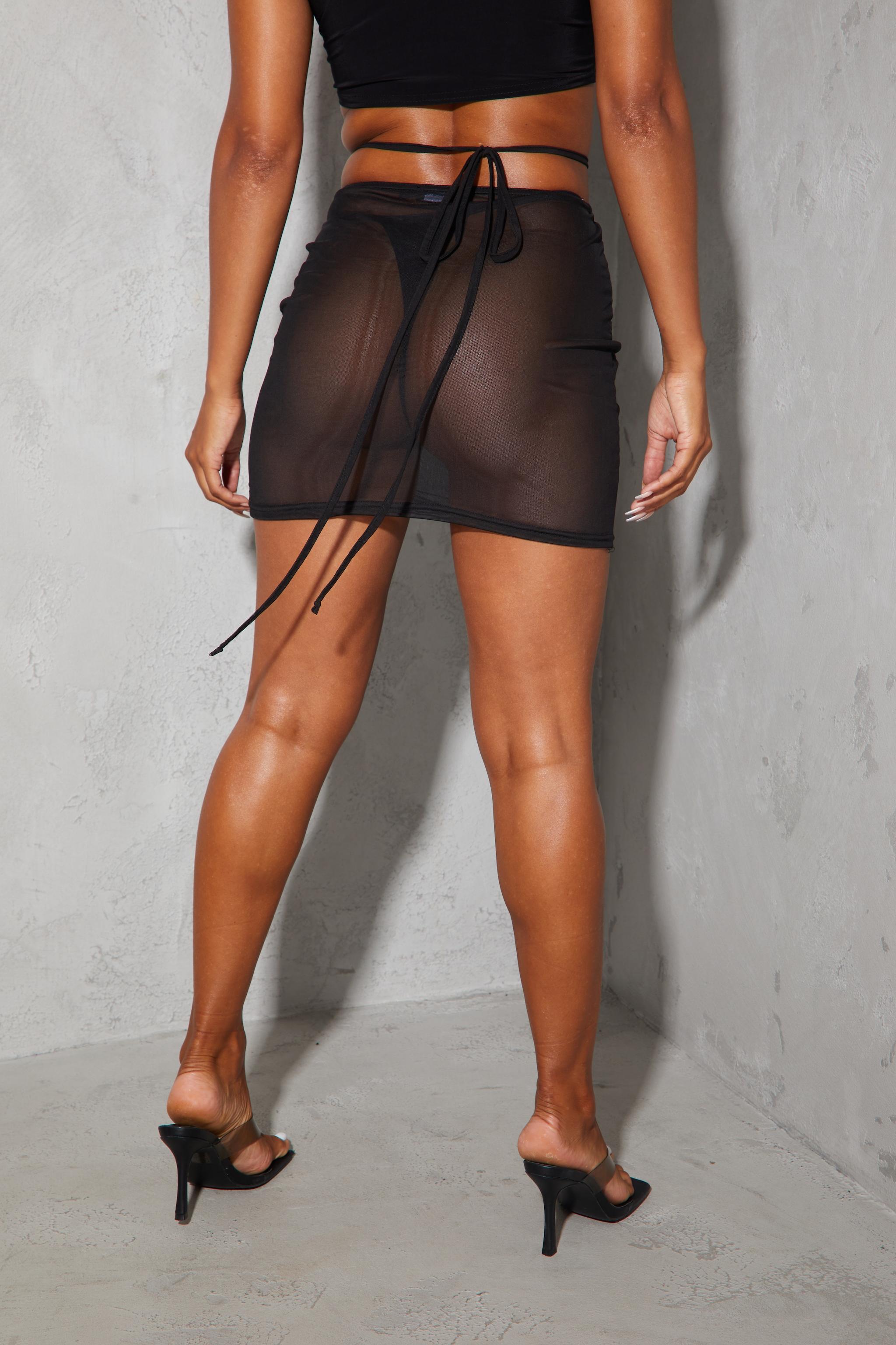 Black Mesh Tie Waist Split Hem Mini Skirt 3