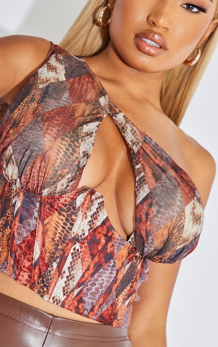 Shape Brown Diamond Snake Print Mesh One Shoulder Corset Crop Top 4