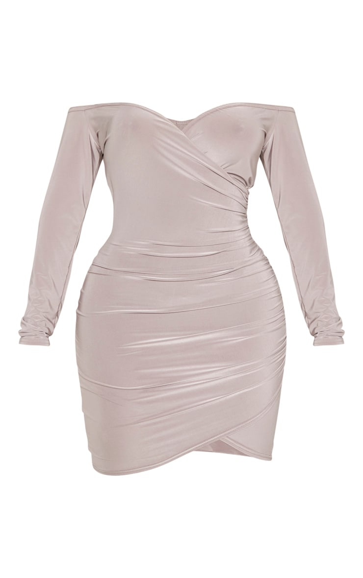 Shape Mocha Ruched Bardot Bodycon Dress 3