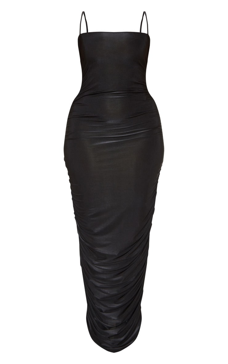 Plus Black Strappy Slinky Ruched Back Maxi Dress 3