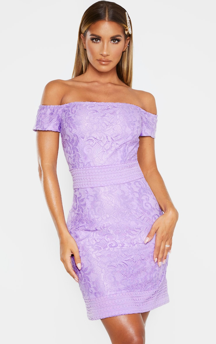 Lilac Bardot Lace Crochet Bodycon Dress 4