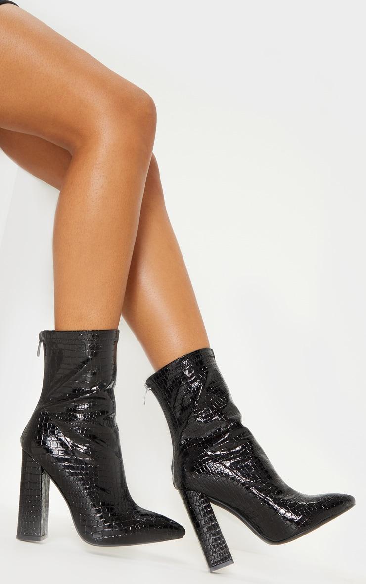 Black Croc Block Heel Point Boot 1