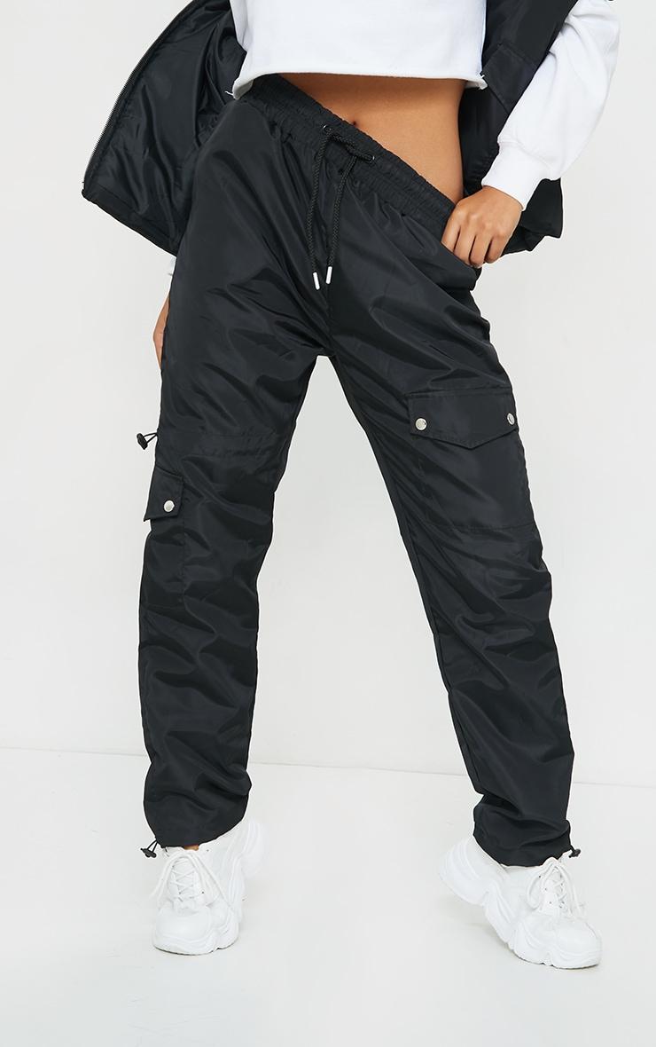 Black Shell Toggle Hem Pocket Detail Straight Leg Trousers 2