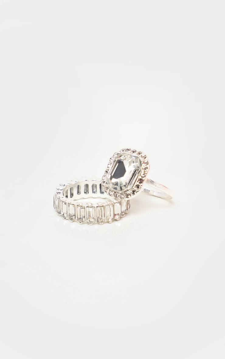 Silver Crystal Statement  Ring 3