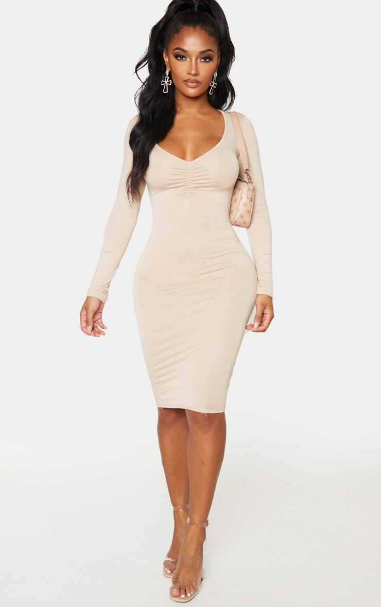 Shape Stone Jersey Ruched Bust Midi Dress 1