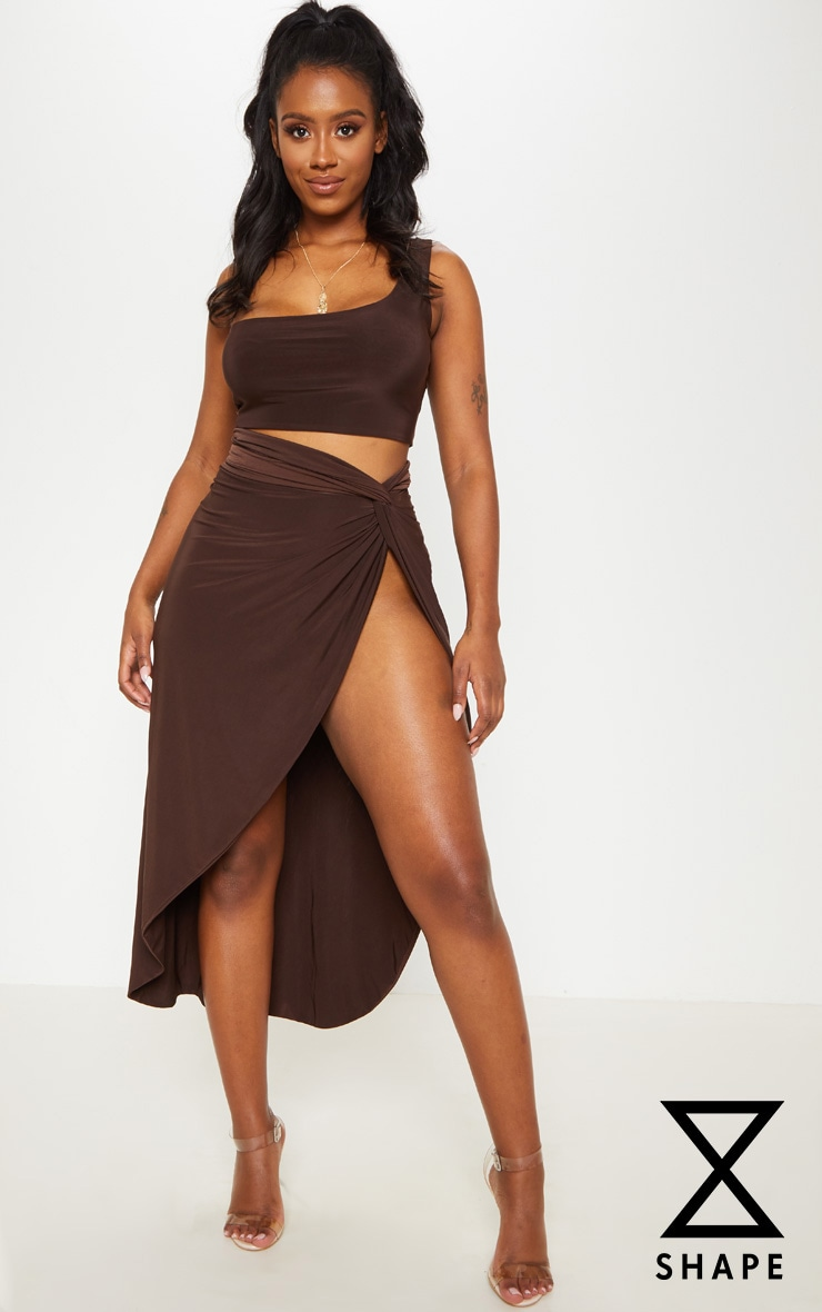 Shape Chocolate Brown Knot Front Split Maxi Skirt