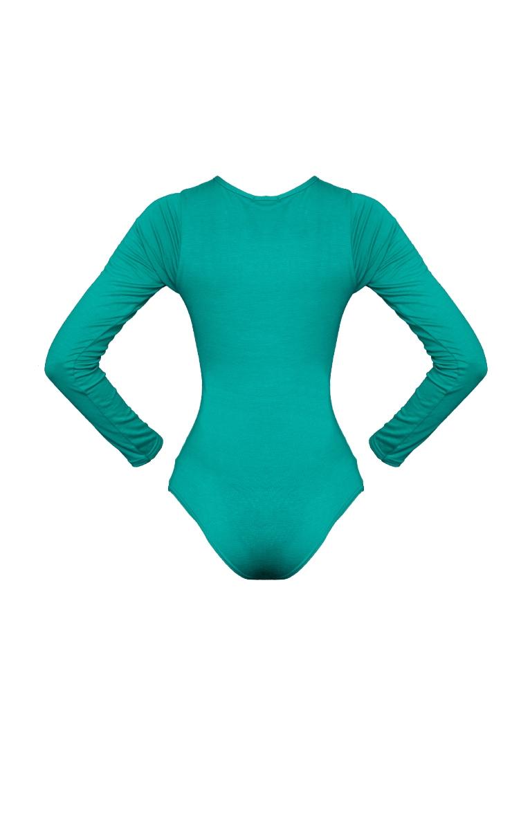 Bright Green Basic Crew Neck Long Sleeve Bodysuit 6