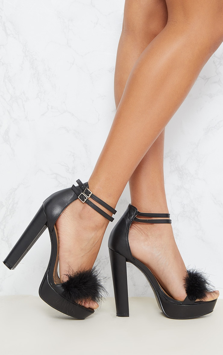Shea Black Fluffy PU Platform Sandals