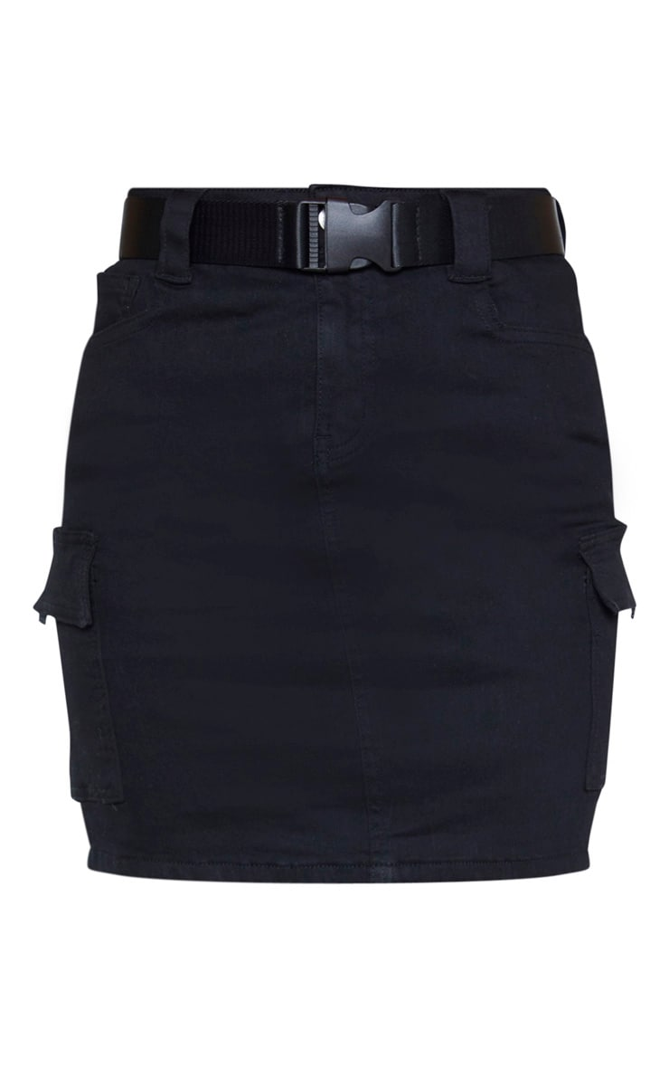 Tall Black Cargo Pocket Belted Denim Skirt 3
