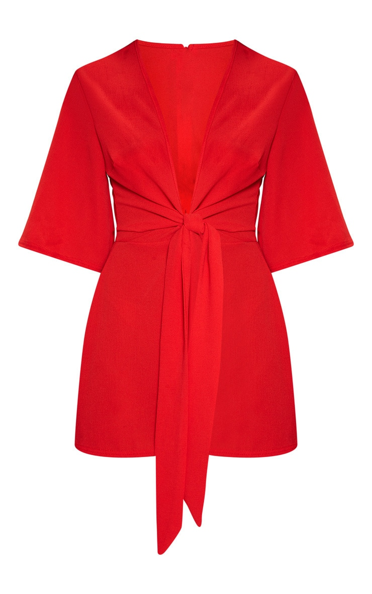 Red Tie Front Playsuit 3