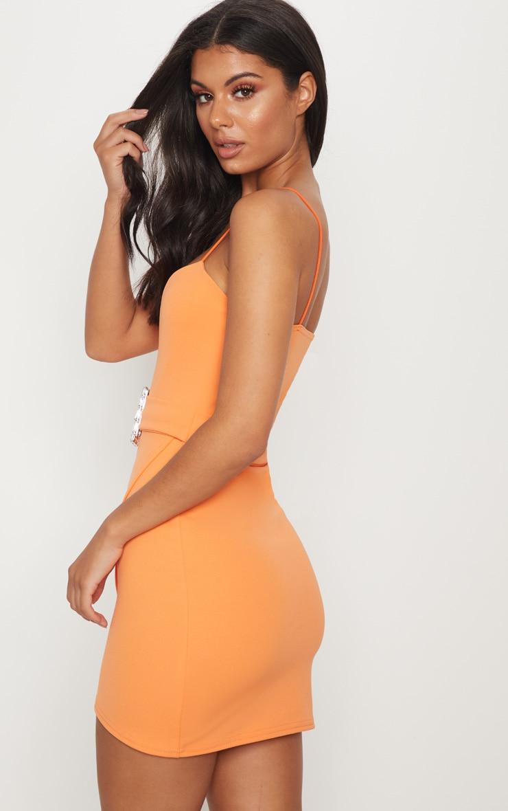 Tangerine Strappy Diamante Belt Wrap Bodycon Dress 2