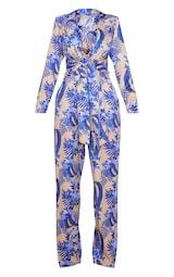 Nude Floral Wrap Detail Blazer Jumpsuit 3