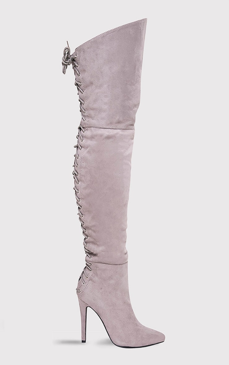 Carlie Grey Lace Up Back Over The Knee Heeled Boots 1