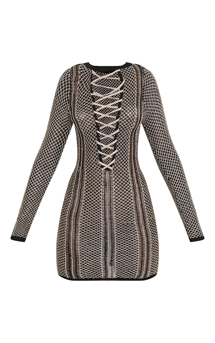 Venita robe mini à lacets en maille noire métallisée 3