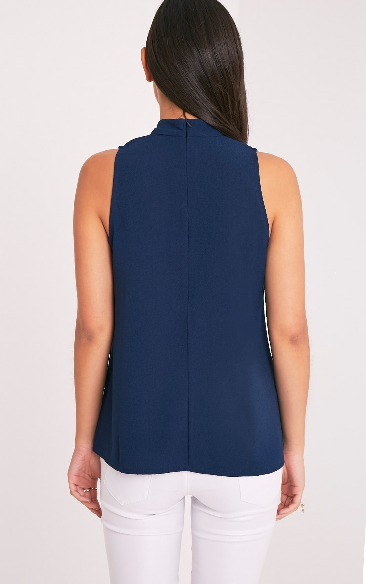 Karen Navy Cut Out Neck Shift Top 2