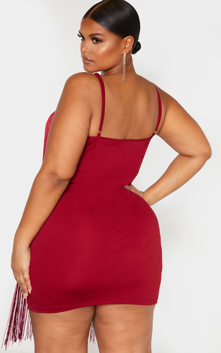 Plus Burgundy Tassel Bodycon Dress  2