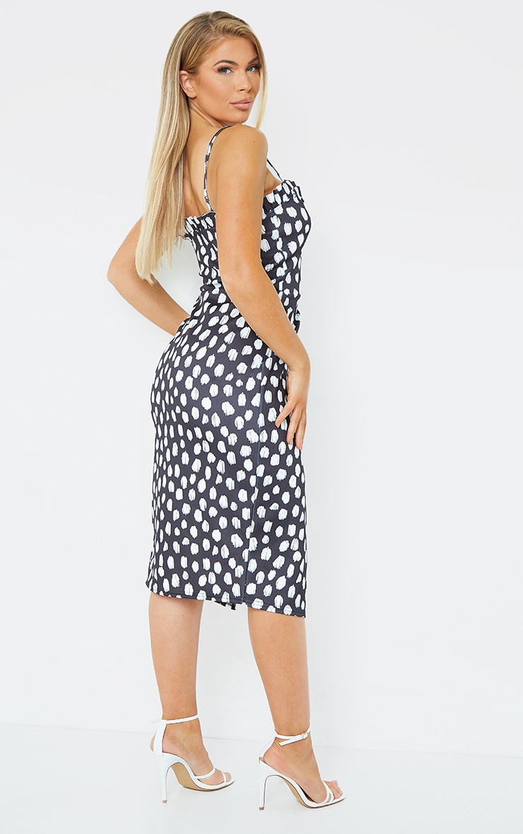 Black Dalmatian Frill Detail Wrap Midi Dress 2