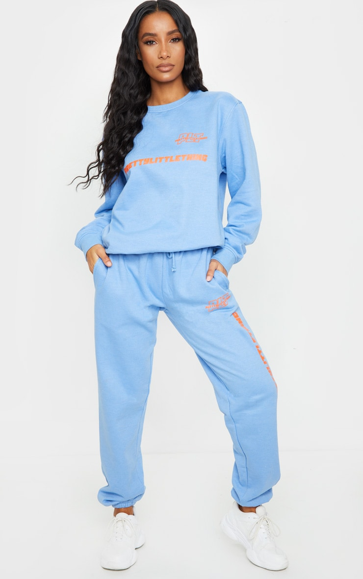 PRETTYLITTLETHING Blue Slogan Oversized Sweater 3