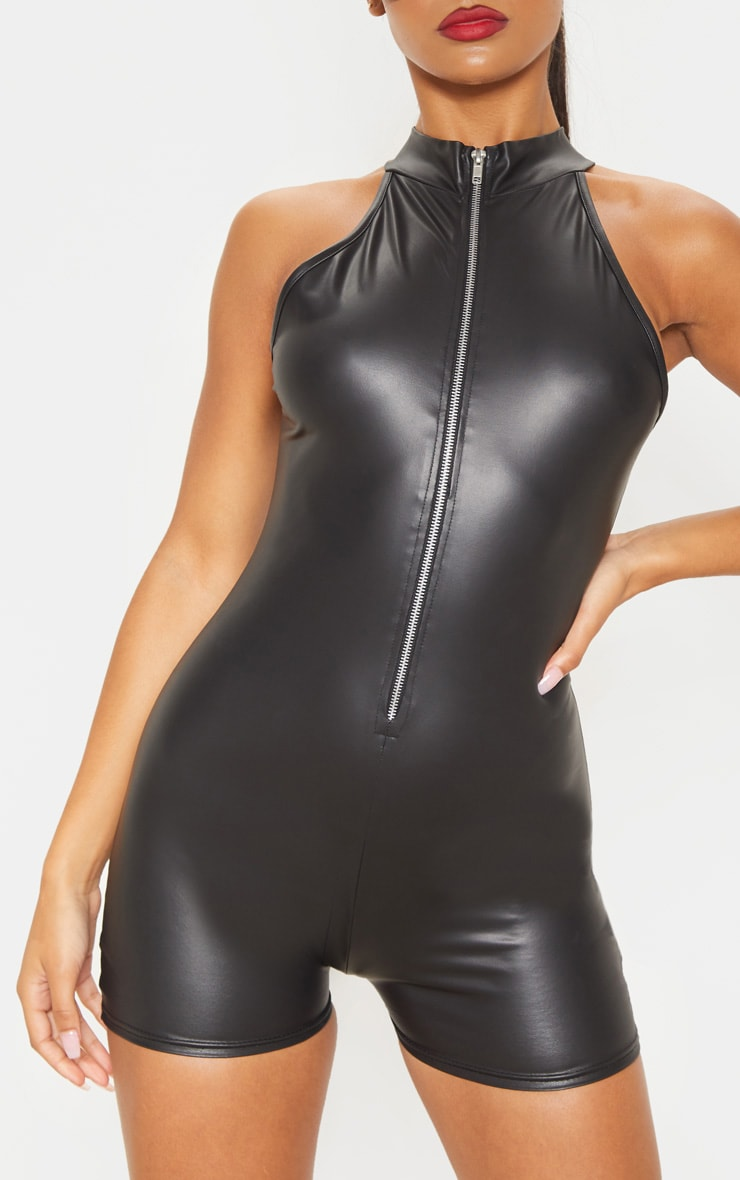 Black PU Zip Front Unitard 5