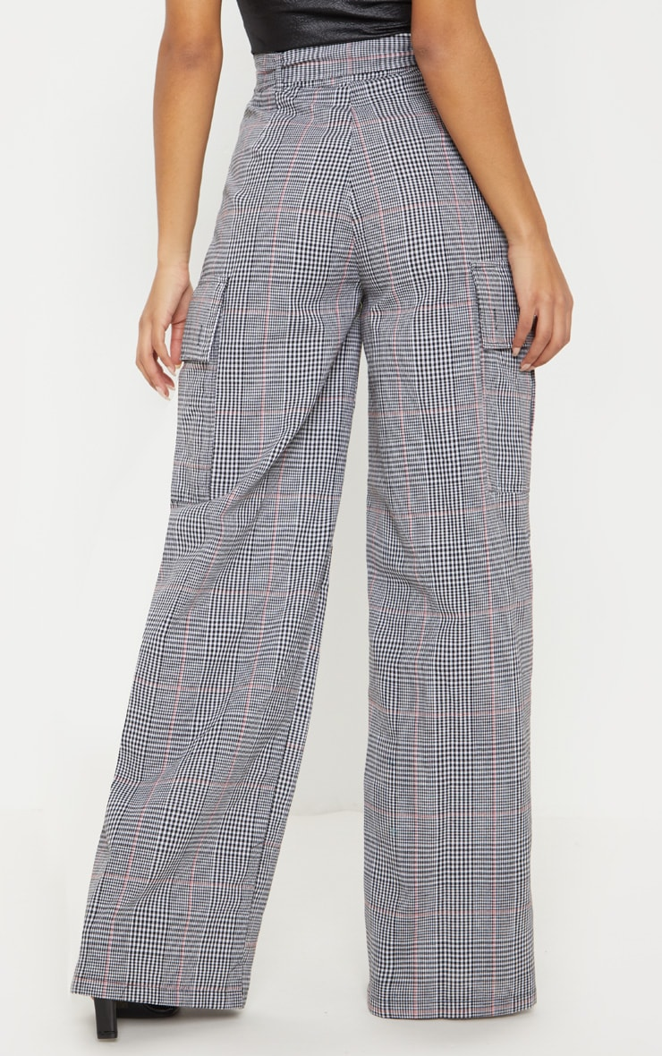 Grey Check D Ring Pocket Wide Leg Pants  4