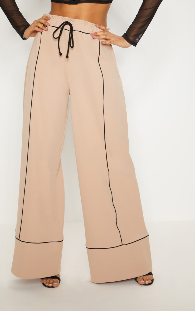 Stone Contrast Binding Ruched Waist Wide Leg Trouser 2