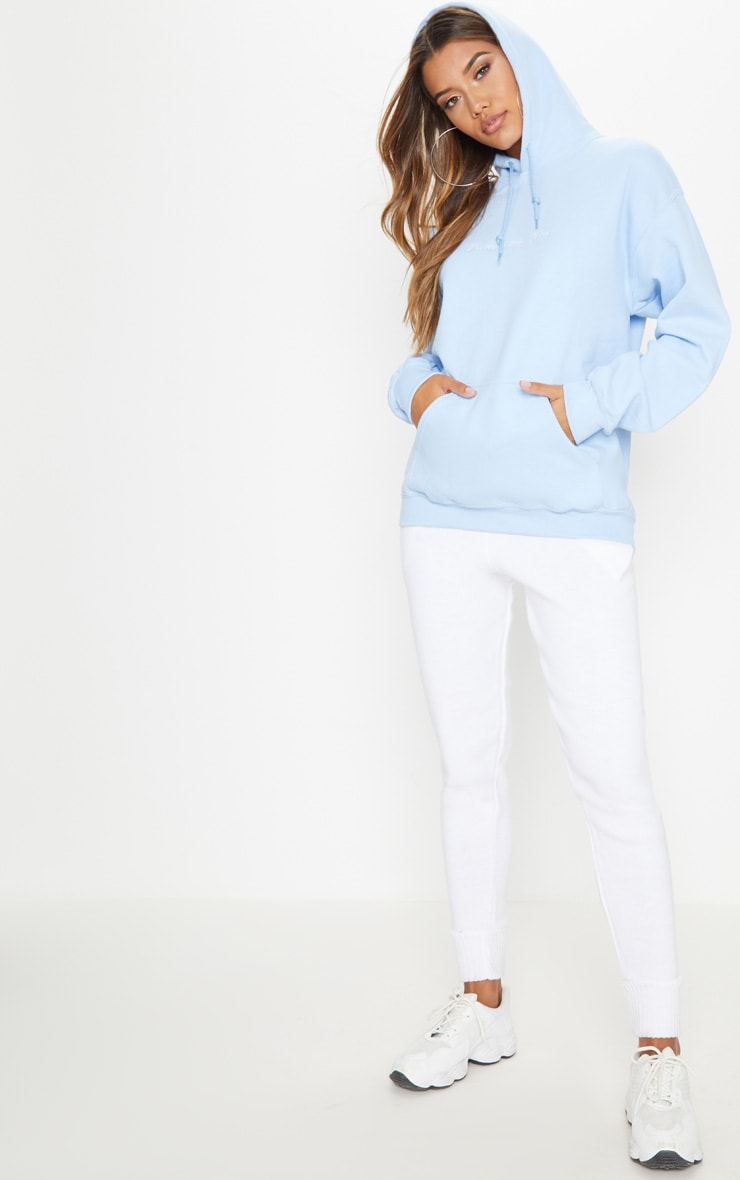 PRETTYLITTLETHING Light Blue Embroidered Oversized Hoodie 4
